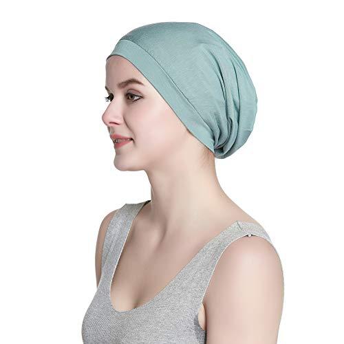 New Classic Satin Slouchy Cap Soft Sleep Hats for Women Pine Green ()