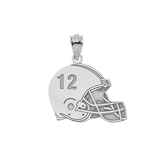 - Sports Charms 925 Sterling Silver Customized Football Helmet Pendant with Your Name and Number