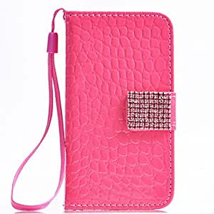 Simple Style Purity Snakeskin Grain PU Leather Full Body Case with Rhinestone (Assorted Color)Button for iPhone 4/4S , Rose