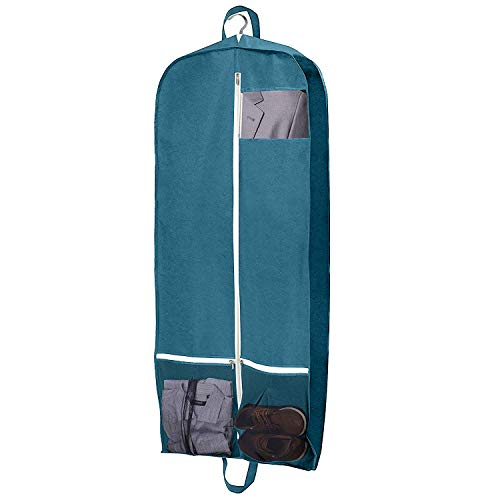 Mesh Tri Fold Garment Bag - Roomy 60Inch Long Dress Garment Bag,Travel Garment Bag, Foldable Trifold Suit Cover, Wardrobe Bag,Trifold Hanging Clothes Storage Bags for Suits, Tuxedos, Dresses, Coats (Green, 43Inch)