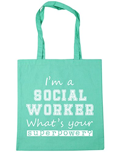Superpower What's Gym Social Beach litres Mint Tote HippoWarehouse Your Shopping Worker I'm 42cm A 10 Bag x38cm nRwwzIY