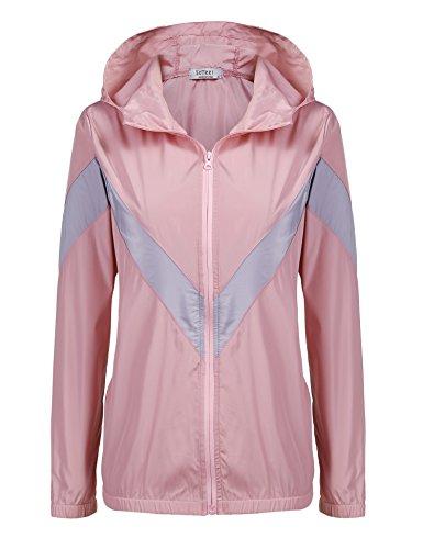 (SoTeer Women's Front Zip Colorblocked Weatherproof Lightweight Hooded Rain Jacket Raincoat Pink)