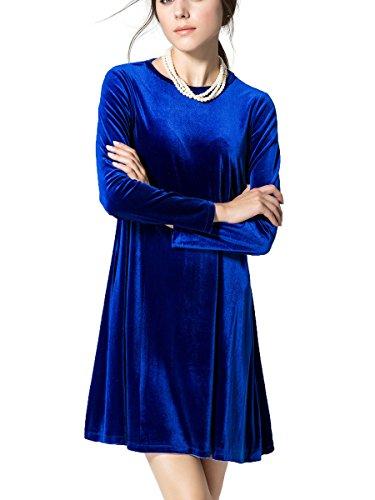 (K&S Women's Gold Velvet Long Sleeve Flare Loose Short Dress (XL, Blue))