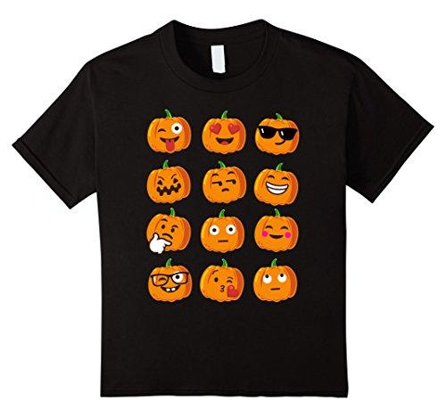 Kids KIDS Pumpkin Emoji Faces T-Shirt Emoji Halloween Costume 4 Black - Girls Halloween Shirt