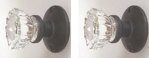 Two Crystal Antique Replica Surface Mount Single Dummy/French Door Knob Sets for one side of two doors or Both Sides of one door. Also for decor projects (Oil Rubbed Bronze)