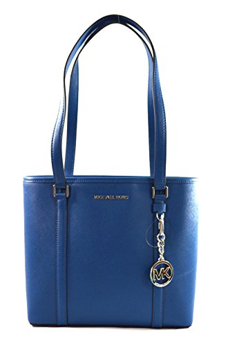 Michael Kors Sady Saffiano Leather Top Zip Tote Shoulder Bag Purse Handbag (Steel Blue) by Michael Kors