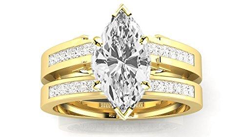 0.49 Ct Princess Shape - 1 Carat 14K Yellow Gold Channel Princess Cut Diamond Engagement Ring Bridal Set Marquise Shape (0.49 Ct G Color SI1 Clarity Center Stone)