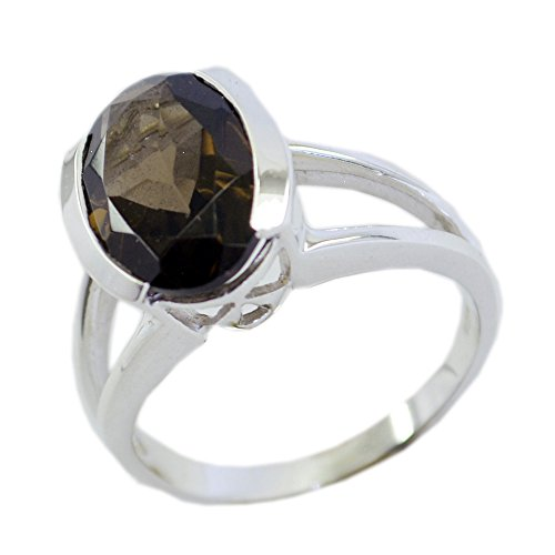 Jewelryonclick Genuine Smoky Quartz Ring Oval Cut Bar-setting Sterling Silver Available in Size 4-12 (Faceted Smoky Ring Quartz Oval)