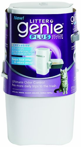 Litter Genie Plus Cat Litter Disposal System with Odor Free Pail System, White
