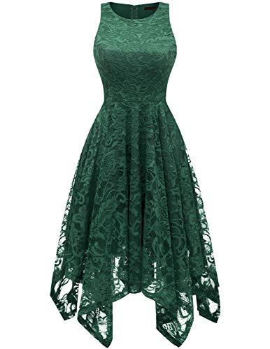 - Bridesmay Women's Boatneck Sleeveless Elegant Floral Lace Asymmetrical Hanky Hem Cocktail Party Midi Dress Dark Green XL