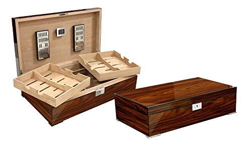 Prestige Import Group Salvador Brazilian Rosewood Wood Finish Cigar Humidor w/Twin Trays - Up to 250 Capacity