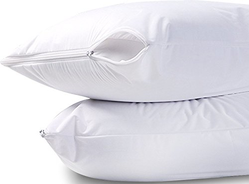 Utopia Bedding Waterproof Zippered Pillow Encasement Bed Bug Proof Pillow Cover Protects Against Dust Mite, Bacteria, Allergens - Polyester Jersey Fabric Pillow Protector (White, King) Dust Mite Proof Bedding