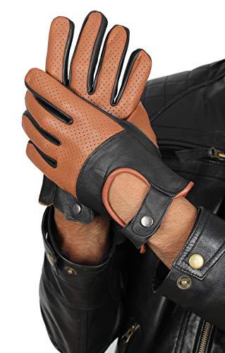 Leather Tan Brown Driving Gloves for Men - Mens Winter Deerskin Leather Gloves (M)