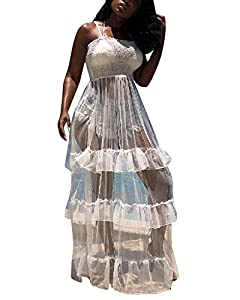 Women Sexy Spaghetti Strap See Through Sheer Mesh Layered Long Maxi Romper Dress Party Clubwear