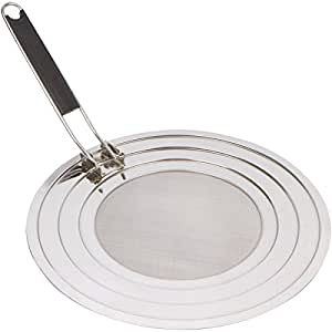 Splatter Screen Guard for Frying Pan and Cooking with Folding Handle, Stainless Steel Grease Shield, Dish Washer Safe
