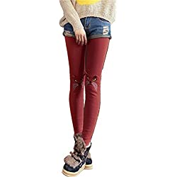 JOYHY Women's Cute Stretchy Cat Pattern Legging Pants Fleece Inside Wind Red