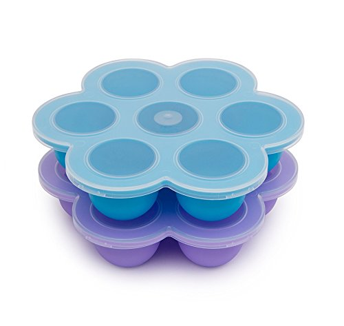 2 Pack Silicone Egg Bites Mold for Instant Pot Accessories, Baby Food Freezer Tray Containers - Fits Instant Pot 5,6,8 qt Pressure Cooker (Purple+Blue)