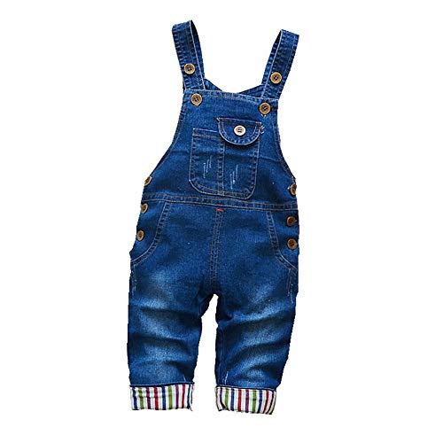 BibiCola Autumn Boys Denim Pants Baby Denim Overalls Jumpsuits for Toddler/Infant (18M)