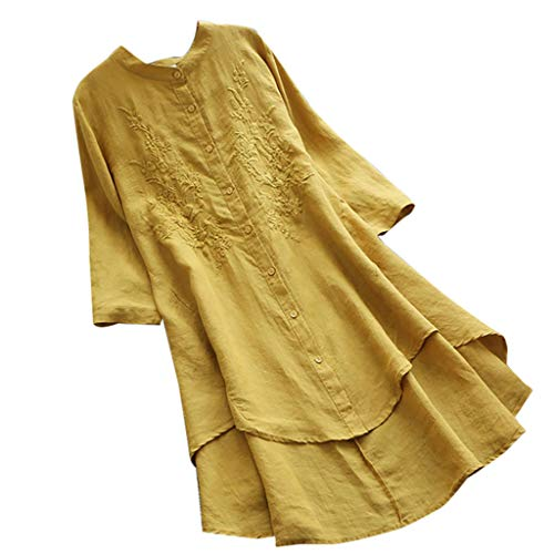 Dressin Women Blouse Ladies Vintage Casual Hollow Out O-Neck Half Sleeve Linen Short Long Top T-Shirt Plus Size