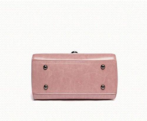 Sac Portable Cuir Bandoulière Pink Véritable à Totes à Sac Dames En Sac à Bureau Sac Bandoulière Main Poignée Supérieure à Sac Femmes Bandoulière qpgawFn