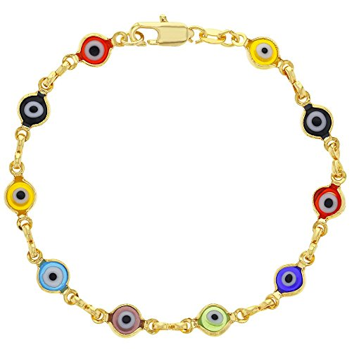 In Season Jewelry 14k Gold Plated Multicolor Evil Eye Greek Turkish Nazar Hamsa Kabbalah Bracelet