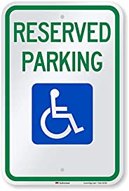 "SmartSign - T1-1001-EG_12x18 Reserved Parking Federal Handicap Parking Sign By | 12"" x 18"" 3M Engine"