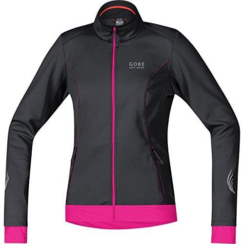 (GORE BIKE WEAR Women's Warm Soft Shell Cycling Jacket, GORE WINDSTOPPER,  LADY WS SO Jacket, Size 34, Black/Magenta, JWELEL)