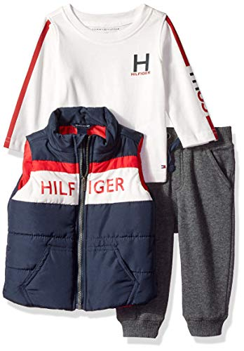 Tommy Hilfiger Baby Boys 3 Pieces Vest Set, Blue/red 6-9 Months