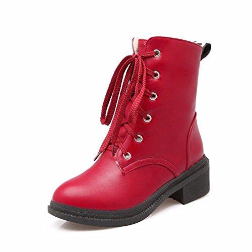El otoño y el invierno la mujer tie UPS, Martin botas, cilindro corto botas casuales de estudiantes gules