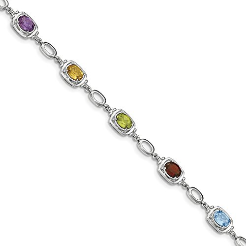 ICE CARATS 925 Sterling Silver Multi Gemstone Link Bracelet 7.50 Inch Fine Jewelry Gift Set For Women Heart by ICE CARATS