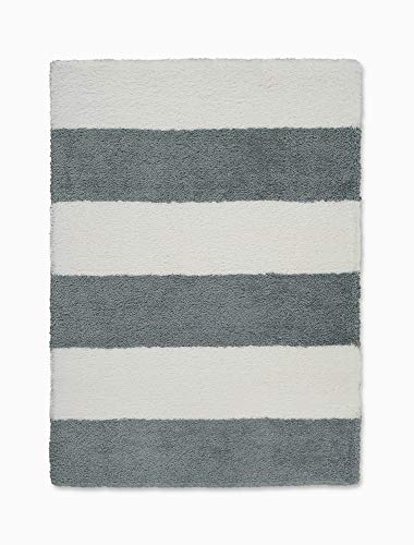 - Calvin Klein Home CK722 Chicago Shag White Striped Area Rug 5' x 7' 5'X7', Grey