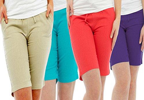 o Length Ladies lino 4 inverno Pack pantaloni Shorts Pacchetto estate e sole cortometraggi Full 4 Holiday di e 3 gonne wff5q