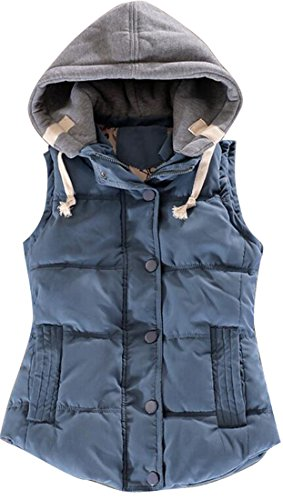 博覧会極めて重要な規定WAYA- 女性の冬の厚いウォームボタンフード付きダウンベスト