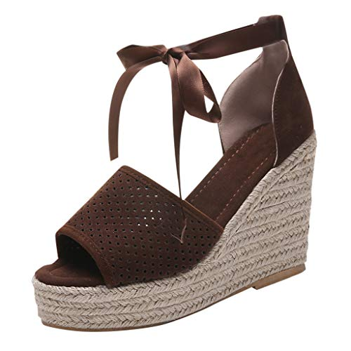 (Auniemifly Women's Solid Color Woven Wedges Silk Strap Lace-Up Breath Hole Peep Toe Espadrilles Sandals Shoes Brown)