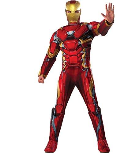 Marvel Men's Captain America: Civil War Deluxe Muscle Chest Iron Man Costume, Multi, -
