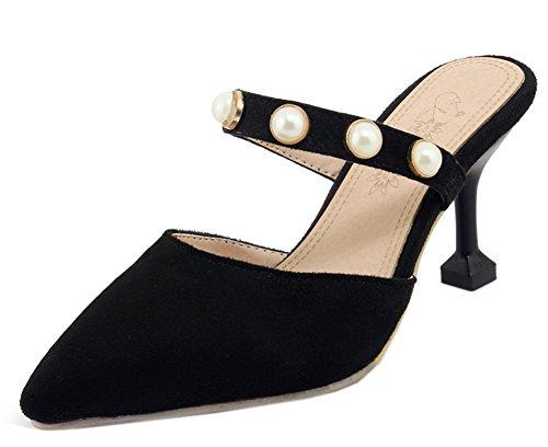 Pointue Soirée Noir Sexy Heel Chaussure Perles Kitten Femme Easemax Mules 0zwR6pqtR