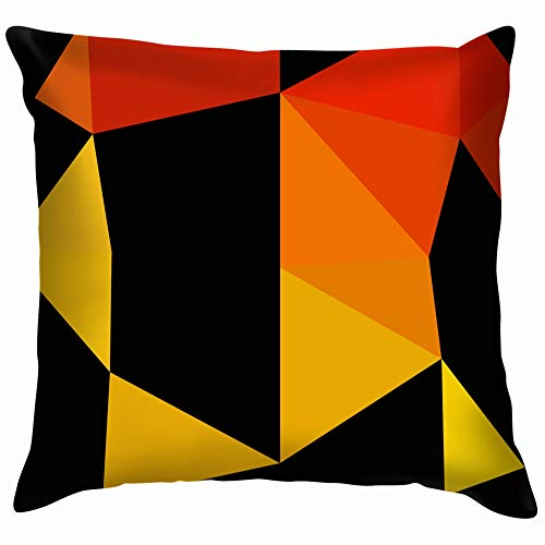 Light Orange Triangle Mosaic Cover Soft Cotton Linen Cushion Cover Pillowcases Throw Pillow Decor Pillow Case Home Decor 26X26 Inch ()