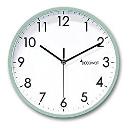 Decowall DSH-A25GN 9.8 Non-ticking Silent Modern Pastel Wall Clock DIY for Living Room Bedrooms Office Kitchens (Mint Green, 25cm)