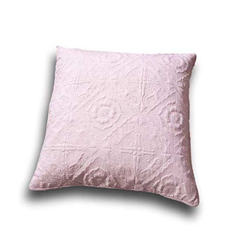 Euro Sham - Floral Country Rose Pink Pillow Cover - Soft Pale Textured - 26