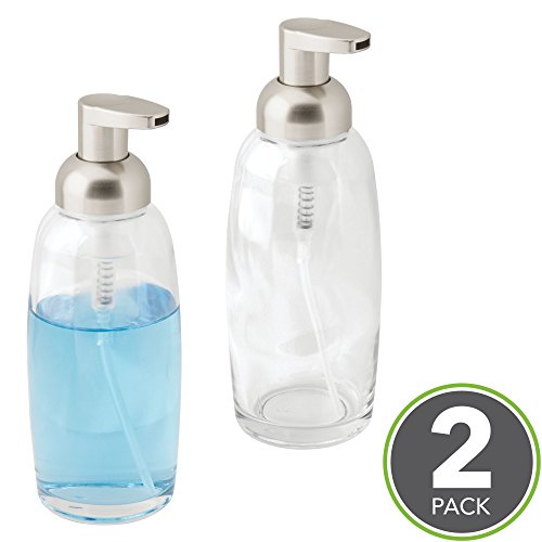 mDesign Modern Glass Refillable Foaming Soap Dispenser Pump Bottle for Bathroom Vanities or Kitchen Sink, Countertops - Pack of 2, Clear with Satin Pump Head