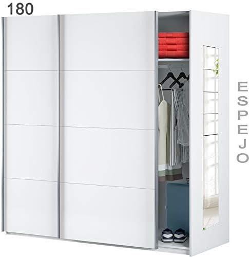 HABITMOBEL Armario 180 Dormitorio Espejos, Medidas Armario: 180 cm (Ancho) x 204 cm (Alto) x 65 cm (Fondo): Amazon.es: Hogar