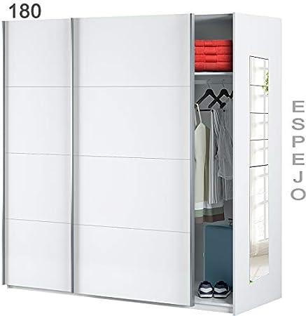 HABITMOBEL Armario Oficina estantes de 150 con Espejos, Medidas Armario: 150 cm (Ancho) x 204 cm (Alto) x 65 cm (Fondo) Blanco Brillo: Amazon.es: Hogar