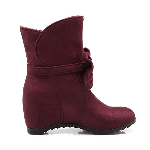 Claret Suede Imitated Low top Women's Kitten Pull Boots Round on Toe Heels AgooLar Closed Oxqz8wPzv
