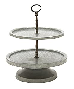 "Deco 79 49188 Metal 2 Tier Tray Stand, 15"" x 17"""