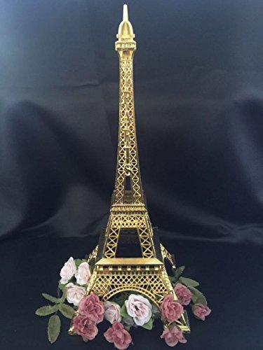 15 Inch (38cm) Gold Metal Eiffel Tower Statue Figurine Replica Centerpiece]()