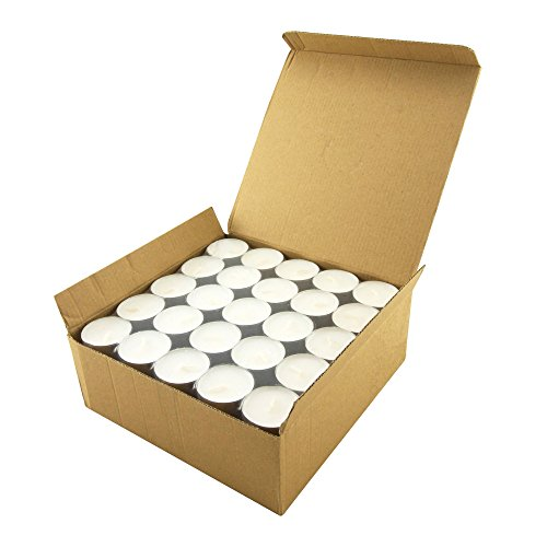 Long Burning Tealight Candles - 8 Hours - White - Unscented - 100 Pack (Lights Tea)