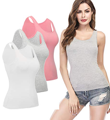 (KIWI RATA Camisoles for Women with Built in Bra, Summer Sleeveless Shirt Casual, Comfortable Padded Bra cami, Wide Straps Tank Top for Yoga 3 Pack CutePink White Grey L)