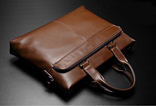 RENHONG Männer Retro Braun Schwarz Rot Mode Leder Aktentasche Schultertasche Umhängetasche Business Casual Büro College Laptop Notebook Tasche B