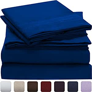 Mellanni Bed Sheet Set - HIGHEST QUALITY Brushed Microfiber 1800 Bedding - Wrinkle, Fade, Stain Resistant - Hypoallergenic - 4 Piece (Full, Imperial Blue)