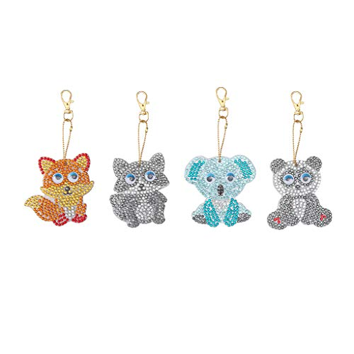 Fan-Ling DIY Special Shape Full Diamond Diamond Pattern Key Ring Set,Multicolor Diamond Embroidery Key Chain,Cell Phone Chain, Resin Rhinestones Pendant Holder (G:4PCS-Animal)